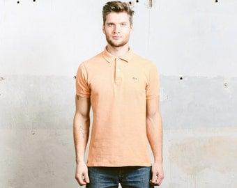 LACOSTE Polo Shirt . Vintage 80s Men's T-Shirt Golf Tennis Shirt 1990s Orange Top Polo Shirt T-shirt Boyfriend Gift . size Medium