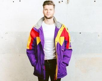 Parka Coat . Vintage ETIREL Ski Jacket SNOWBOARDING JACKET Mens 1980s Sportswear Activewear Colorblock Outerwear . size xxl