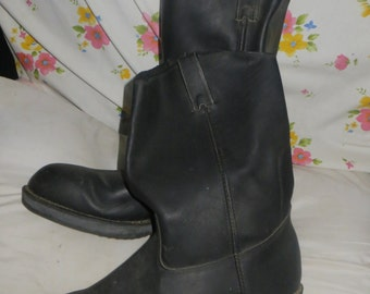 Vintage  mens   black leather  biker boots  steel toe motorcycle / military boots   size 13 w