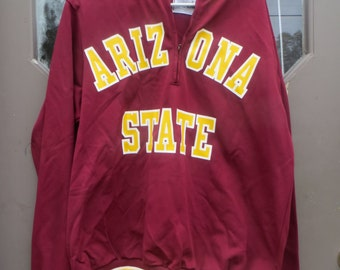 Vintage Arizona State OLD  school pull over jacket Made by Medalist Sand-Knit Made Berlin, WI USA... Retro 1970s... Size on tag: 44