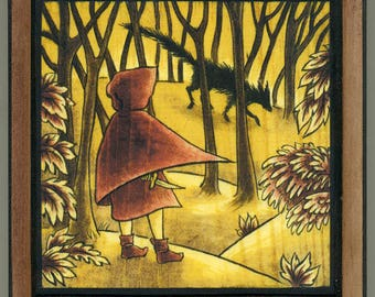 mounted print wood art- Red Riding Hood