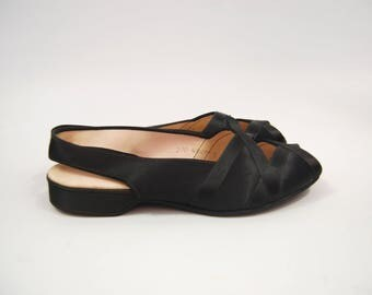 1950s Black Satin Daniel Green Slippers Flats // Boudoir Bedroom Slippers / Sling back Peep Toe Size 7