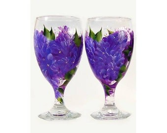 STUDIO SALE - Hand-Painted Beverage Set of 4 - Purple Lilac Flowers Green Leaves - Iced Tea Glasses Wine Goblets Housewarming Wedding Gifts