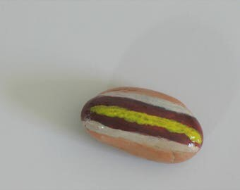 Painted Rocks, food art, hot dog and bun, hand painted stones, paperweights