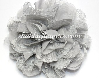 Gray Chiffon & Lace Flower, Baby Girl Flower, 4 inch flower, Headband Supplies