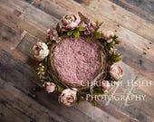 Newborn Digital Photography Backdrop Pink Flower Twig Basket Wreath