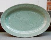 "Celadon Koi Longquan 14"" Oval Platter Dimensional Goldfish Pattern Gorgeous Pale Jade Seafoam Green Porcelain"