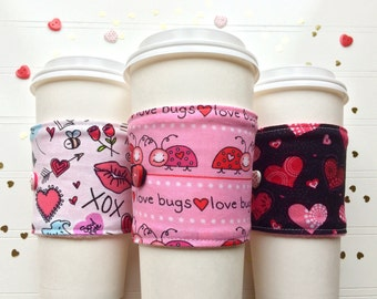 Coffee Cup Cozy, Coffee Cup Sleeve, Cup Cozy, Cup Sleeve, Reusable Coffee Sleeve - Valentine Love Bugs [61-63]