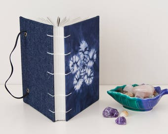 Writing Journal - Unlined Journal Notebook with Shibori Fabric Cover - Great Boho Gifts