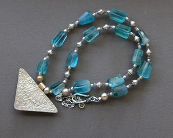 Blue Fluorite and Silver Necklace Faceted Aqua Blue Nuggets from Afghanistan w Karen Hill Tribe Silver Pendant Gemstone Jewelry