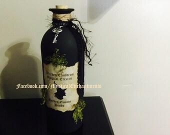 Primitive Black Halloween Witch SPELL POTION Bottle- choose design