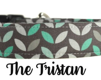 "Gray and Blue Floral Dog Collar ""The Tristan"""