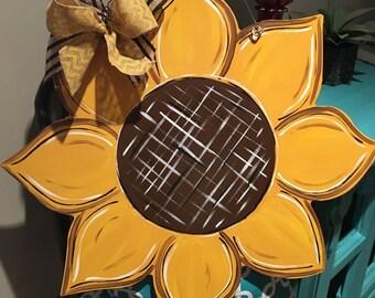 Large Wood Sunflower Door Hanger