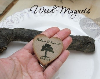 Wedding magnets  rustic wedding magnets SAMPLE  Wood Magnets - Rustic Wedding Favor Wood Magnets - Custom Save the date Tree heart