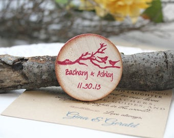 wooden save the date magnets Wedding magnets- Custom Magnets  - Wood Wedding Favor - Cherry blossom tree save the date rustic wedding
