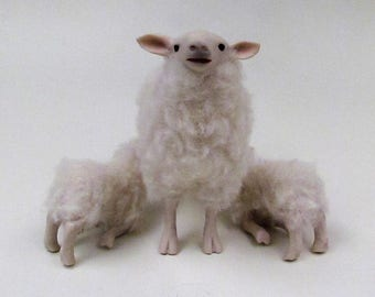 Doll House Scale Irish Galway Sheep Nursing Twins