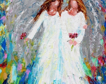 Angel Friends and Flowers print on canvas made from image of Original painting by Karen Tarlton fine art impressionism