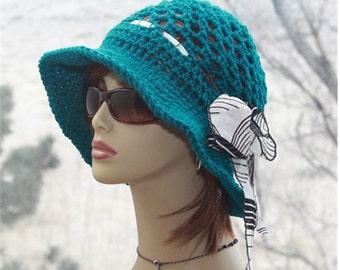 Crochet Womens Hat Brim   Hat, Womens Flapper  Hat, Bohemian Style Sun Hat  Brim Hat Womens Accessories Teal  Hat  Womens Hats