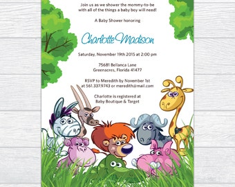 Baby Animals in a garden Baby Shower Invitation, Zoo Baby Shower Invitation, Personalized Baby Shower Invite, Printable  Baby Shower Invite