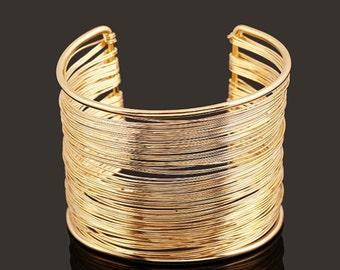 Cuff Bracelet - Gold Bracelet - Gold Cuff Bracelet - Wide Bracelet - Wide Cuff - Statement Bracelet - Boho Bracelet - Adjustable Bracelet