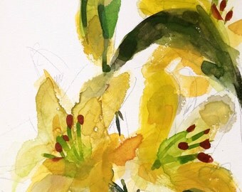 Yellow Lilies Original Watercolor Floral Painting by Angela Moulton 9 x 12 inch