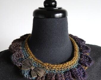 SALE - Reversible Collar Necklace Turquoise Khaki Mustard Dark Purple Color with Metal Bow Pendants
