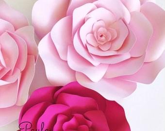Paper flower template, paper flower wall, DIY paper flower pattern, flower template, paper flower backdrop, flower backdrop DIY, flower wall