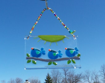 Blue Birds of Happiness Fused ARt Glass Suncatcher // Teal BLue // Sun Catcher // Sunshine // Fused GLass Birds // Cheerful // Get Well /Fun