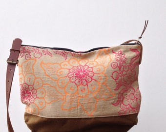Hand printed linen and waxed canvas crossbody day bag with leather handles Cherry Blossom