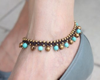 Turquoise Dangling Jingling Anklet