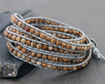 Beaded Bracelets Wrap Brown Jasper Grey Woven Men Unisex