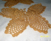 Set of 2 crocheted butterflies with sparkle gold thread