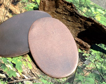 Copper Oval Shape 64mm x 41mm  Blanks Shape for Enameling Stamping Texturing Variety of Metals, - 2 pieces