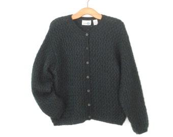 Vintage Cardigan Sweater * Boxy 90s Sweater * Texture Knit Cardigan * Large