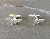 Sterling Silver Wonder Woman Cufflinks, Gifts for Techies, Superhero Gifts, Geeky Gifts, Groom Cufflinks, Superhero Cufflinks, Wonder Woman