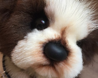 Mink Puppy Dog Teddy Bear Limpy - OOAK Hand Sewn Artist Bear Dog - Puppy Dog Fully Jointed - Brown and White Doggie Bear - Has minor flaw