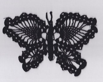 "Black Butterfly ~ Hand Crocheted Light Weight Cotton Thread Butterfly Shape ~ Pineapple Pattern Wings ~ 9"" Across  ~ 6"" High ~ Mint"
