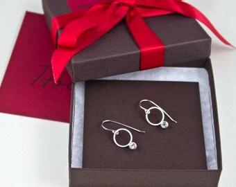 Holiday Earrings,Bridal Silver Earrings,Gemstone Earrings,White Topaz Earrings,Bridesmaid Earrings,Circle Dangle Earrings,Orit Earrings