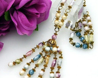 Vintage Lavalier Necklace Pastel Glass Beads, 6 Strand Tassel Drop