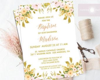 Baptism Invite, Fall Baptism Invitation, Christening, LDS Baptism, Printable Invite, Floral Watercolor Invite,First Communion, jadorepaperie