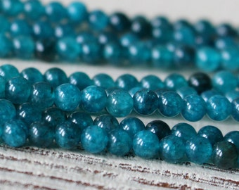 4mm Round Apatite Beads - Round Gemstone Beads - Jewelry Making Supplies - Teal - Choose Length