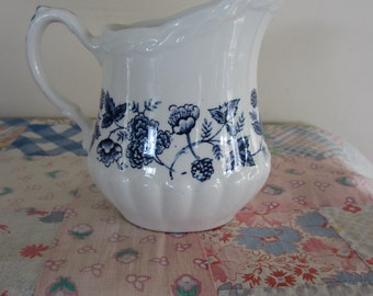 Antique W.H. Grindley Ironstone Creamer Blue Transferware