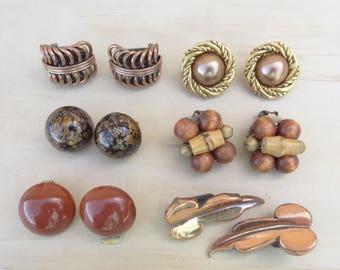 6 Pairs. Matching Vintage Earrings Lot. Copper Renoir Earrings, Brown Cluster, Speckled Clip on Earrings, Enamel, Gold-tone E14