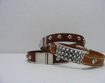 Light Brown Leather Stud Bracelet