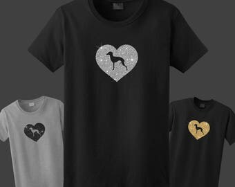 Italian Greyhound Dog Silhouette Glitter Heart T-Shirt Tee - Men, Women Ladies Female, Youth Kids, Long Sleeve