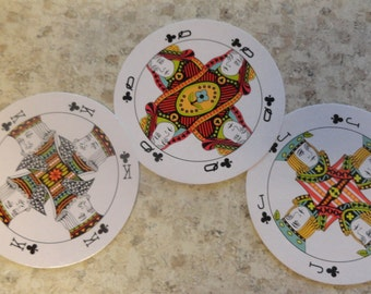 Round PLAYING CARDS Miniature Full Deck Beautiful for Collage Mixed Media Collections