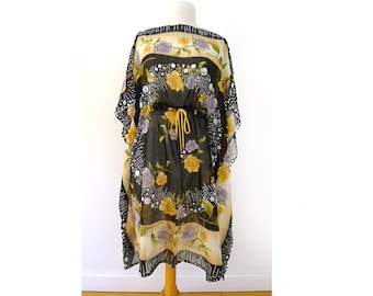 Vintage Hand-Loomed 100% Organic Black Cotton, Lavender, Yellow and Orange Floral Print Fabric, Constructed to Kaftan, Caftan, Cover-up