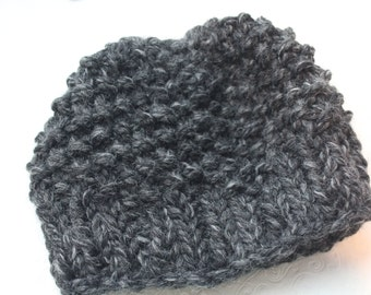 Charcoal Gray Chunky Knit Little  Boy Hat , Size 4-5 Gray Knit  Beanie, Knit Little Boy Hat, Unisex Knit Gray Hat, Charcoal Grey Hat