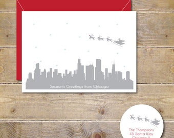 Christmas Cards, Holiday Cards, Santa, Chicago, Skyline, City, Silhouettes, Reindeer, Rudolph, Handmade, Christmas Card Set
