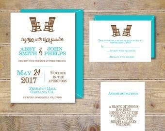 Wedding Invitations, Rocking Chair Wedding Invitations, Rocking Chairs, Adirondack Chairs, Wedding Invitations, Rocking Chair Invitations